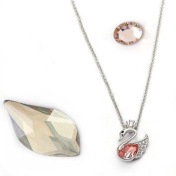 Rhodium Layered Women Swan Fancy Necklace, with Rose Peach Swarovski Crystals, by Folks Jewelry