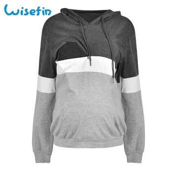 Wisefin Maternity Clothes Hoodies Pregnant Clothes Loose Breastfeeding Hoodie Long Sleeve Nursing Top Winter Nursing Clothes