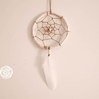 Small Dream Catcher - Harmony - With Raw Brown Web, White Frame and Feather - Home Decor, Nursery Mobile