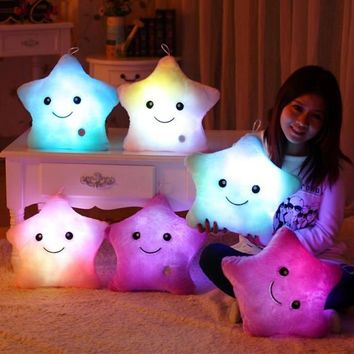 Urijk LED Light Star Shaped Neck Pillow Dolls Colorful Home Decorative Plush Toy Cushion Christmas Gift Baby Body Pillows Travel