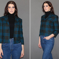 Vintage 50s PLAID BLAZER / Box Style Wool Jacket / TARTAN Plaid / Teal, Olive and Forest Green / Bracelet Length Sleeves / Mid Cent / Sm Md