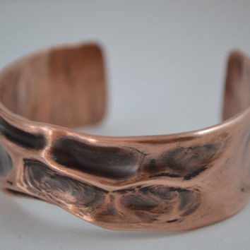 Black Oxidized Rustic Copper Cuff, Rustic Jewelry, Rustic Copper Bracelet, Rustic Cuff Bangle, Copper Cuff, Copper Jewelry, Adjustable Cuff