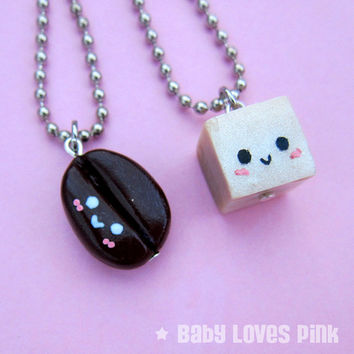 Kawaii Coffee and Sugar BFF Necklace (Set of 2) - Coffee Bean and Sugar Cube Best Friend Necklace