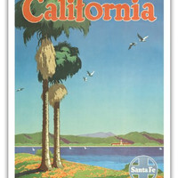 California - Santa Fe Railroad - Vintage Railroad Travel Poster by Oscar M. Bryn c.1950s - Master Art Print - 9in x 12in