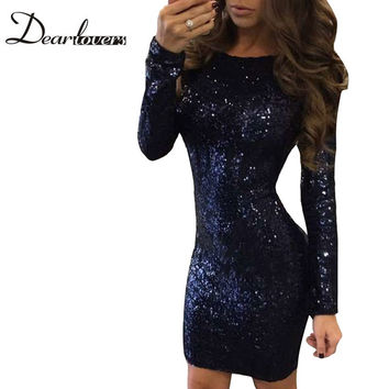 Dear lover New 2017 Women Sequin Dress Blue Long Sleeves Cut out Backless Sequin Dress Sexy Night Club Party Dresses LC22924