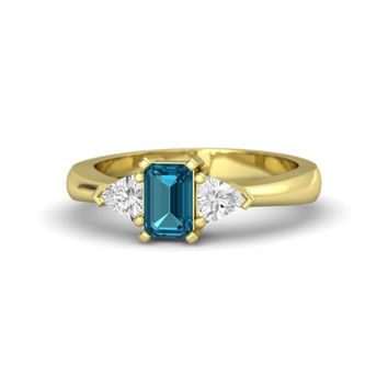 Emerald-Cut London Blue Topaz 18K Yellow Gold Ring with White Sapphire