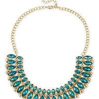 Haskell Necklace, Gold-Tone Teal Bead Frontal Necklace - All Fashion Jewelry - Jewelry & Watches - Macy's