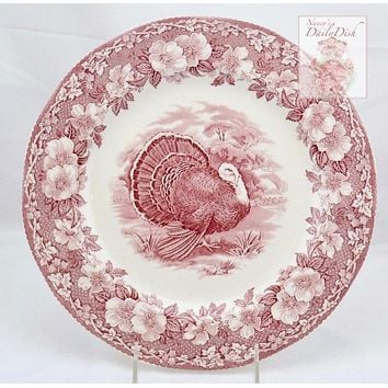 Vintage Wedgwood Pink / Red Transferware Thanksgiving Woodland Turkey Plate w/ Twig and Floral Border