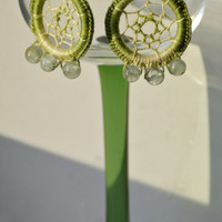 Dream Catcher Earrings - Dreamcatcher Earrings - With Prehnite / Prenite Gemstone - Prehnite Earrings