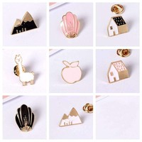Hip-Pop Style Brooch Pins Alloy Enamel Badges For Clothing Pins Jewelry Accessories Apple Fox For Christmas Gifts Brooches