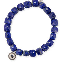 Sydney Evan 8mm Cubed Lapis Beaded Bracelet with Concentric Eye Charm