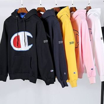 Champion X Supreme Big Logo Long Sleeve Hedging Pullover Sweater Hoodies