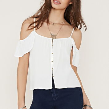 Buttoned Open-Shoulder Top | Forever 21 - 2000169071