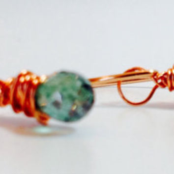 Copper and Topaz earrings, Minimalist Earrings, Tiny Dangle Gemstone earrings, Green wire-wrapped earrings, Fish hook Earrings