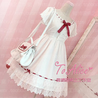 Super Cute Girls White Lace Dress Red Ribbon Big Bow Short Sleeve Lolita Dress with 2 Hairbands