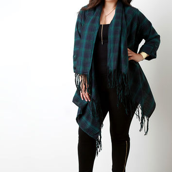 Plaid Fringe Hem Draped Boxy Cardigan