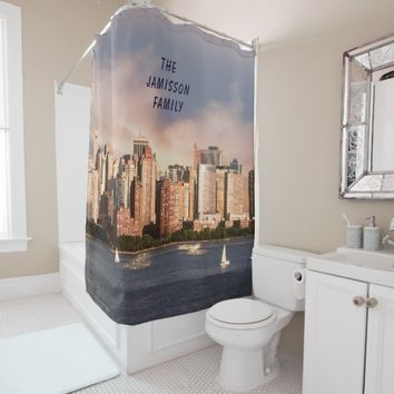 NYC Lower Manhattan Skyline with Personalized Name Shower Curtain