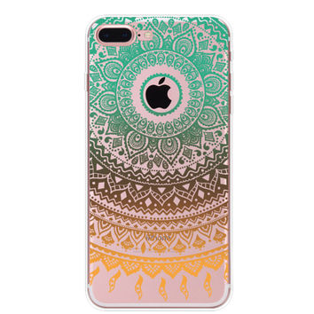 Boho Gradient Floral iPhone 7 7Plus & iPhone se 5s 6 6 Plus Case Cover +Gift Box-91