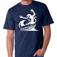Unisex tshirt Mens tshirts - Cotton Tshirt - Surfing Monkey TShirt - Marine Graphic Tee , Fishing Tshirt / TShirt Surfmonkey