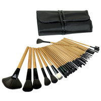 Evelots® 32 Pcs Wooden Makeup Brush Cosmetic Set Kit With Travel Case, Black