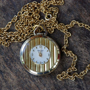 Vintage BRADLEY Pocket Watch Necklace Swiss Made Watch Pendant Wind Up Does Not Work Mid Century 1960's // Vintage Designer Costume Jewelry