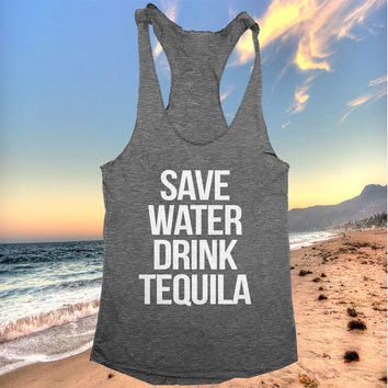 save water drink tequila racerback tank top yoga gym fitness workout fashion fresh top women ladies funny style tumblr party summer