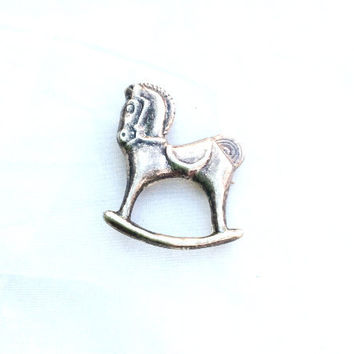 Rocking Horse Brooch Pendant, Victorian, Sterling Silver, Vintage Jewelry, SUMMER SALE