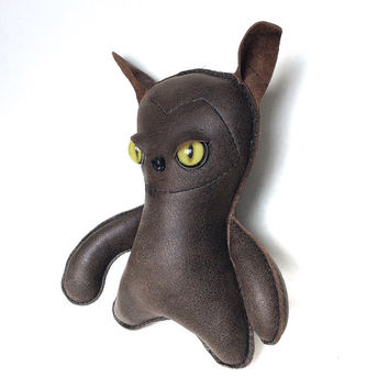 Plushy Bear, Cat, Toy Doll - July summer 2015 Strange Green Cute Monster By Leather Monsters for Etsy, Gift idea for her, him kids or adults