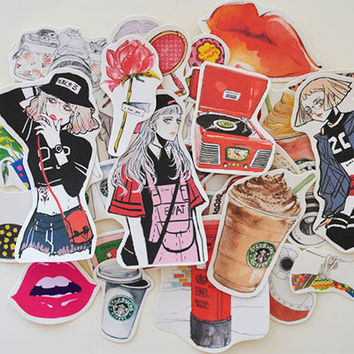 33pcs Self-made Women Fashion Drink Life Scrapbooking Stickers Decorative Sticker DIY Craft Photo Albums Decals Diary Deco