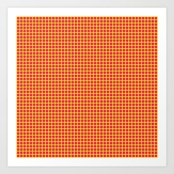 Yellow On Pink Grid Art Print by Moonshine Paradise