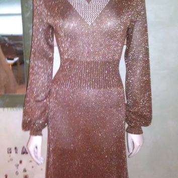 1970s Vintage Dress by Wenjilli Copper Tone Metallic Shimmery Poet Sleeves S