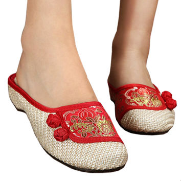 Old Beijing Cloth Embroidered Shoes Flax Slippers   red