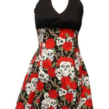 """Swing Me Down"" Skulls and Roses Rockabilly Dress (Black)"