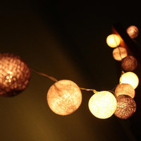 Cotton ball string lights for home decor,party decor,wedding patio,20 piecesindoor string lightsbedroom fairy lights, grey tone