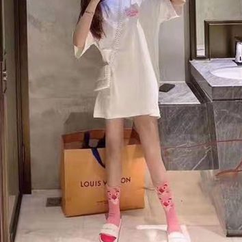Woman's Leisure  Fashion Letter Pink Panther Printing Short Sleeve Short Tops Skirt