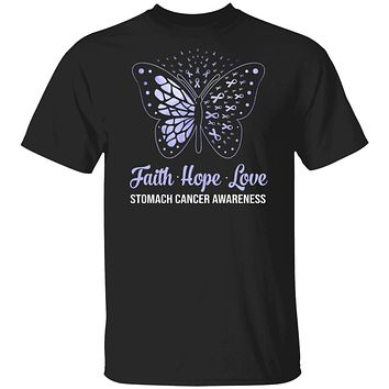 Faith Hope Love Periwinkle Butterfly Stomach Cancer Awareness