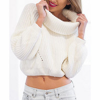 FASHION HIGH COLLAR KNIT SWEATER