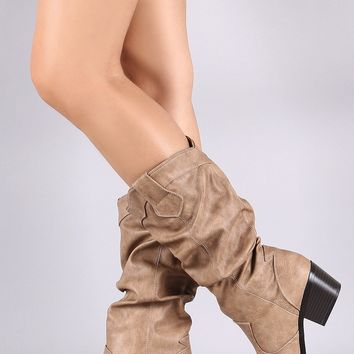 Qupid Western Slouchy Almond Toe Mid Calf Boot