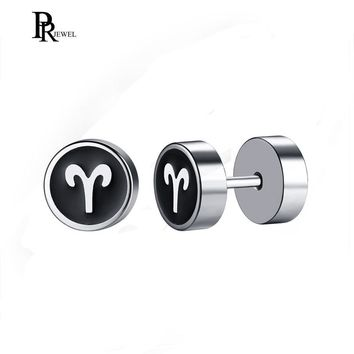 Zodiac Stainless Steel Mens Womens Black Silver Tone Stud Dumbbell Shape Earrings