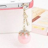 Earphone Jack Accessory Gold Plated Pink Bead Golden Key / Dust Plug / Ear Jack For Iphone 4 4S / Samsung / iPad / iPod Touch / Other 3.5mm Ear Jack: Cell Phones & Accessories