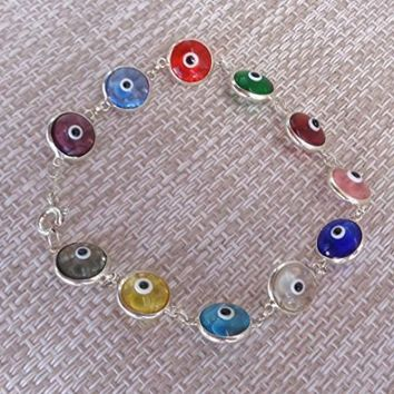 Bracelet Colorful Evil Eye protection 925 Sterling Silver 18cm long