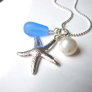 Baby Blue seaglass necklace with swarovski pearl & starfish - Perfect nautical gift for a beach lover - FREE SHIPPING
