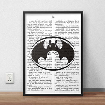 Batman Totoro Logo - A3 SIZE, (Instant Download) , 300 dpi, Awesome Design Printing, Batman, Totoro Poster