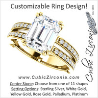 Cubic Zirconia Engagement Ring- The Constance (Customizable Split Band with Accents)