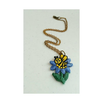 Vintage upcycled bumble bee patch necklace- embroidered bee and flower choker