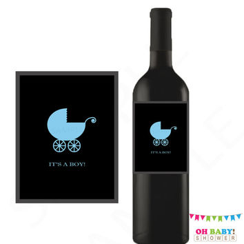 Gender Reveal Party, It's a Boy, Printable Wine Label, Gender Reveal Ideas, Unique Gender Reveal, Original Gender Reveal, Blue Boy Baby