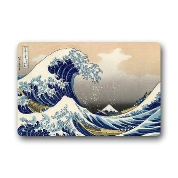 Autumn Fall welcome door mat doormat Custom Japanese The Great Wave Off Kanagawa  Machine Clean Top Fabric & Non-slip Rubber Backing Indoor Outdoor s AT_76_7