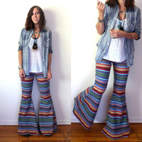 Rainbow Zigzag Stripe Sweater Bell Bottoms // Handmade Knit Super Flare Pants