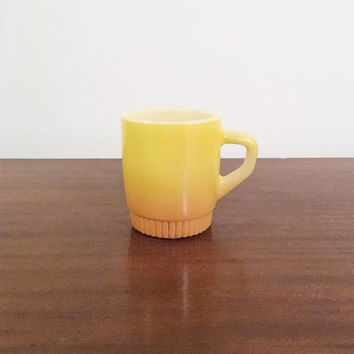 Vintage 1960s Anchor Hocking Fire King Yellow and Orange Stackable Coffee Mug / Retro Tea Cup