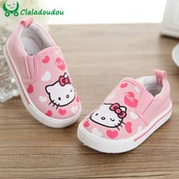 Baby Moccasins Spring Autumn Hello Kitty Heart Girl Shoes Canvas Fashion Newborn Walker Infant Casual Shoes For 0-6 Years Old